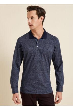 Bisse Erkek Lacivert Regular Fit Desenli Polo Yaka Sweatshirt