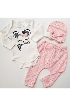 Miniworld Kız Bebek Pembe Prenses Baskılı Takım 3'lü
