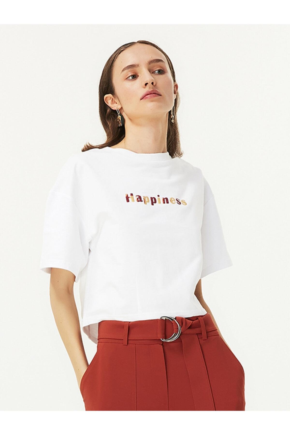 Twist Kadın Beyaz Slogan Nakışlı Tshirt TW6200070020002 1