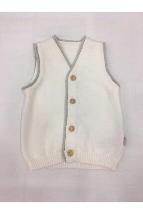 kitikate Unisex Bebek Beyaz Triko Yelek