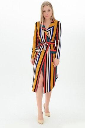 Cotton Mood Kadın Hardal Mercan Krep Kruvaze Ceket Yaka Cepli Kuşaklı Elbise 9101084