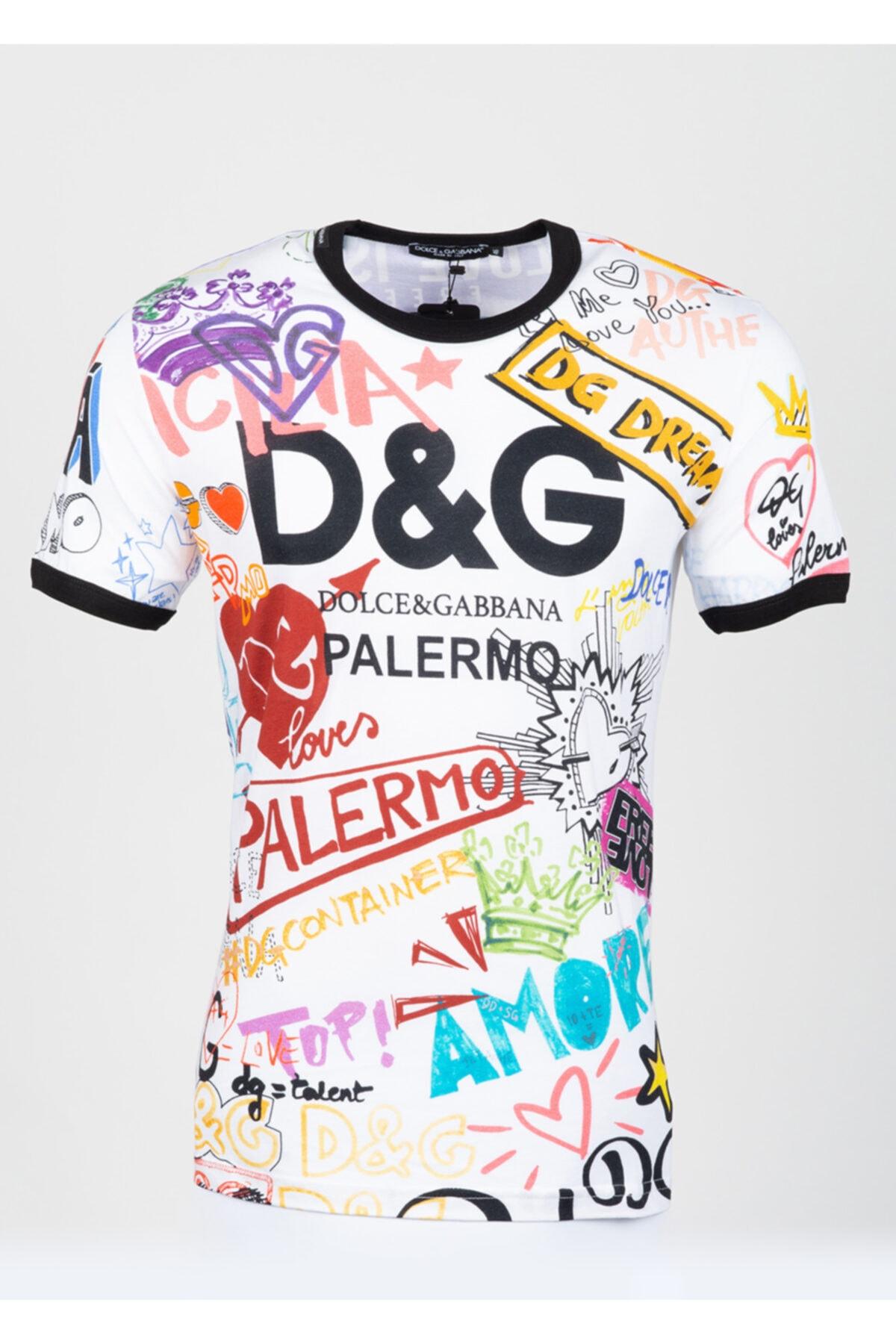 Dolce Gabbana Erkek Beyaz Desenli Tshirt 1