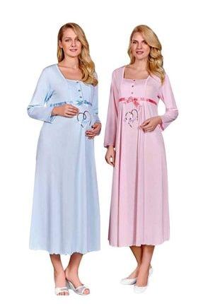 Berrak Kadın Mavi Kalpli Hamile Pijama Takımı