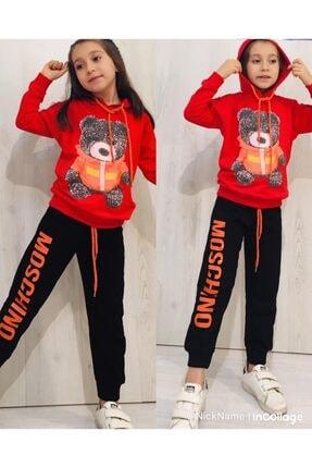 Moschino Kız Çocuk Kırmızı Kapüşonlu Ayıcıklı Takım