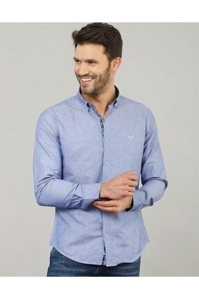 Tudors Erkek Mavi Slim Fit Gömlek