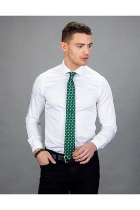 Tudors Erkek Beyaz Slim Fit Pamuk Saten Gömlek