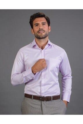 Tudors Erkek Lila Klasik Fit Düz Gömlek