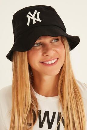 Y-London 13373 Ny Nakışlı Siyah Bucket Şapka