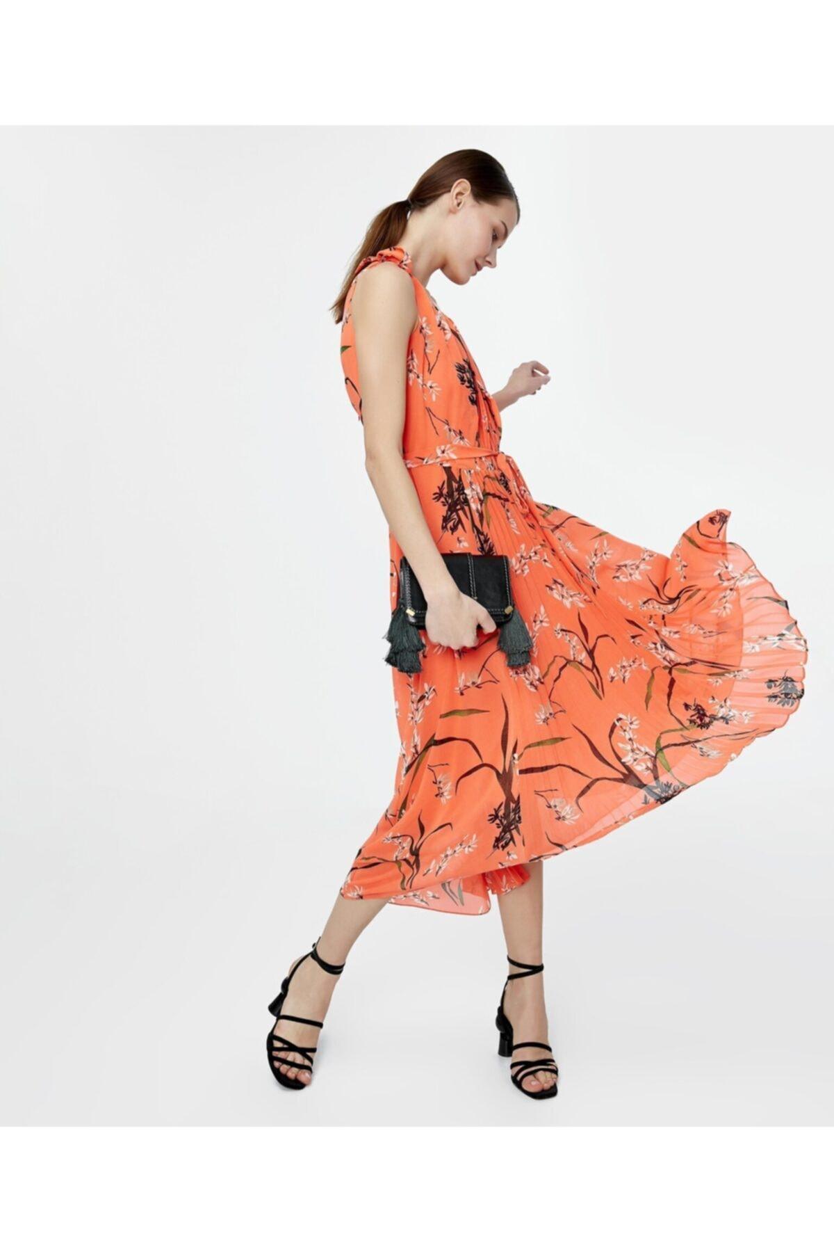 İpekyol Kadın Turuncu Asimetrik Kesim Elbise 1