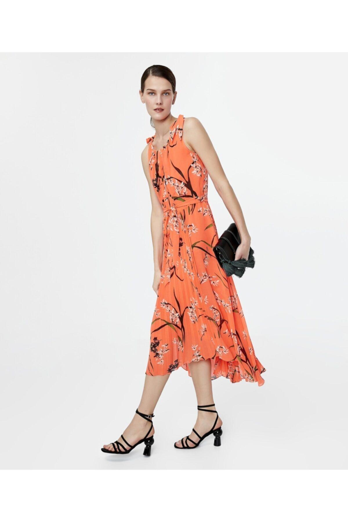 İpekyol Kadın Turuncu Asimetrik Kesim Elbise 2