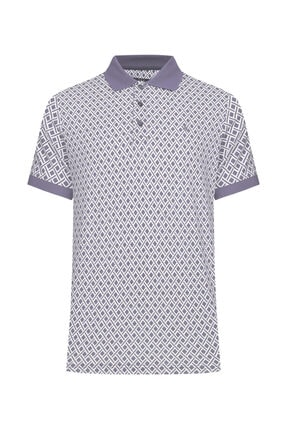 W Collection Erkek Beyaz Gri Polo Yaka T-shirt
