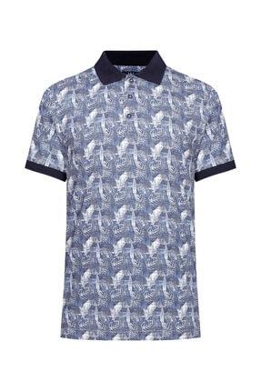 W Collection Erkek Mavi Beyaz Polo Yaka T-shirt