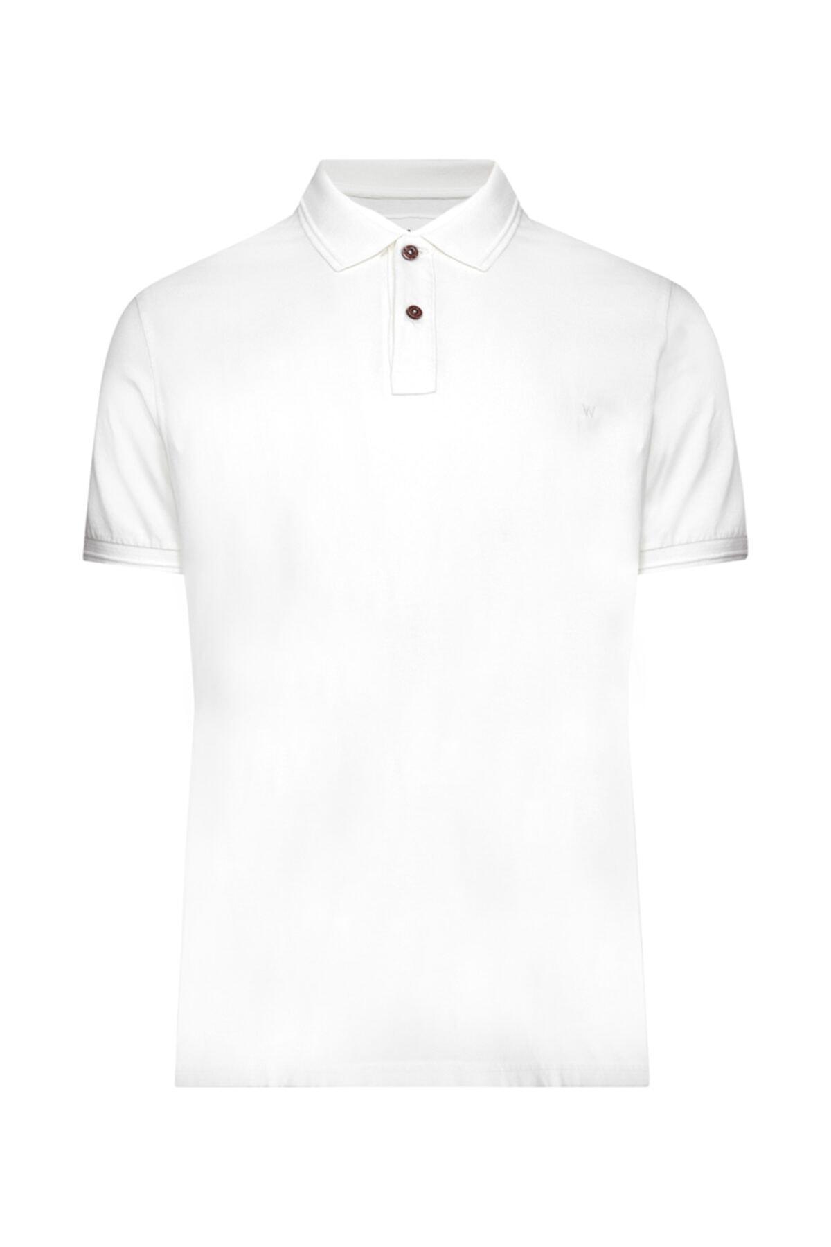 W Collection Erkek Beyaz Polo Yaka T-shirt 1