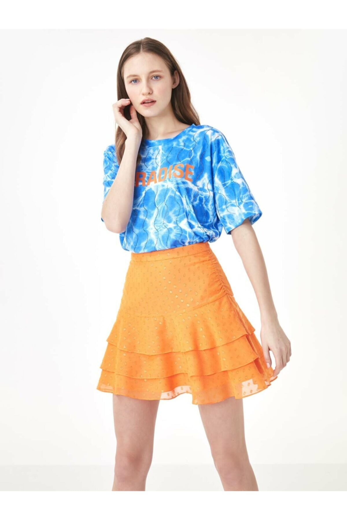 Twist Kadın Mavi Taş Şeritli Tshirt TS1200070159089 1