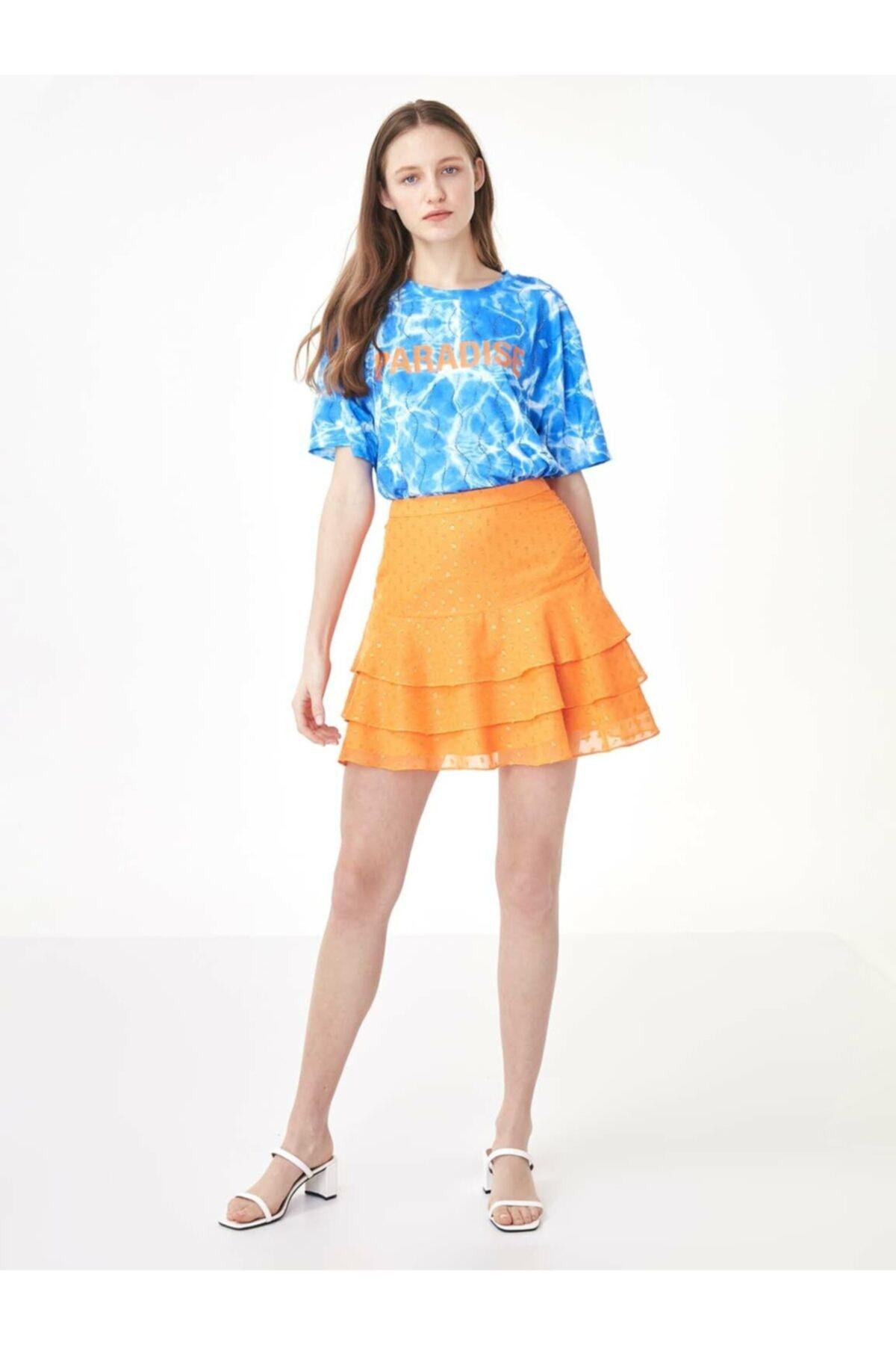 Twist Kadın Mavi Taş Şeritli Tshirt TS1200070159089 2