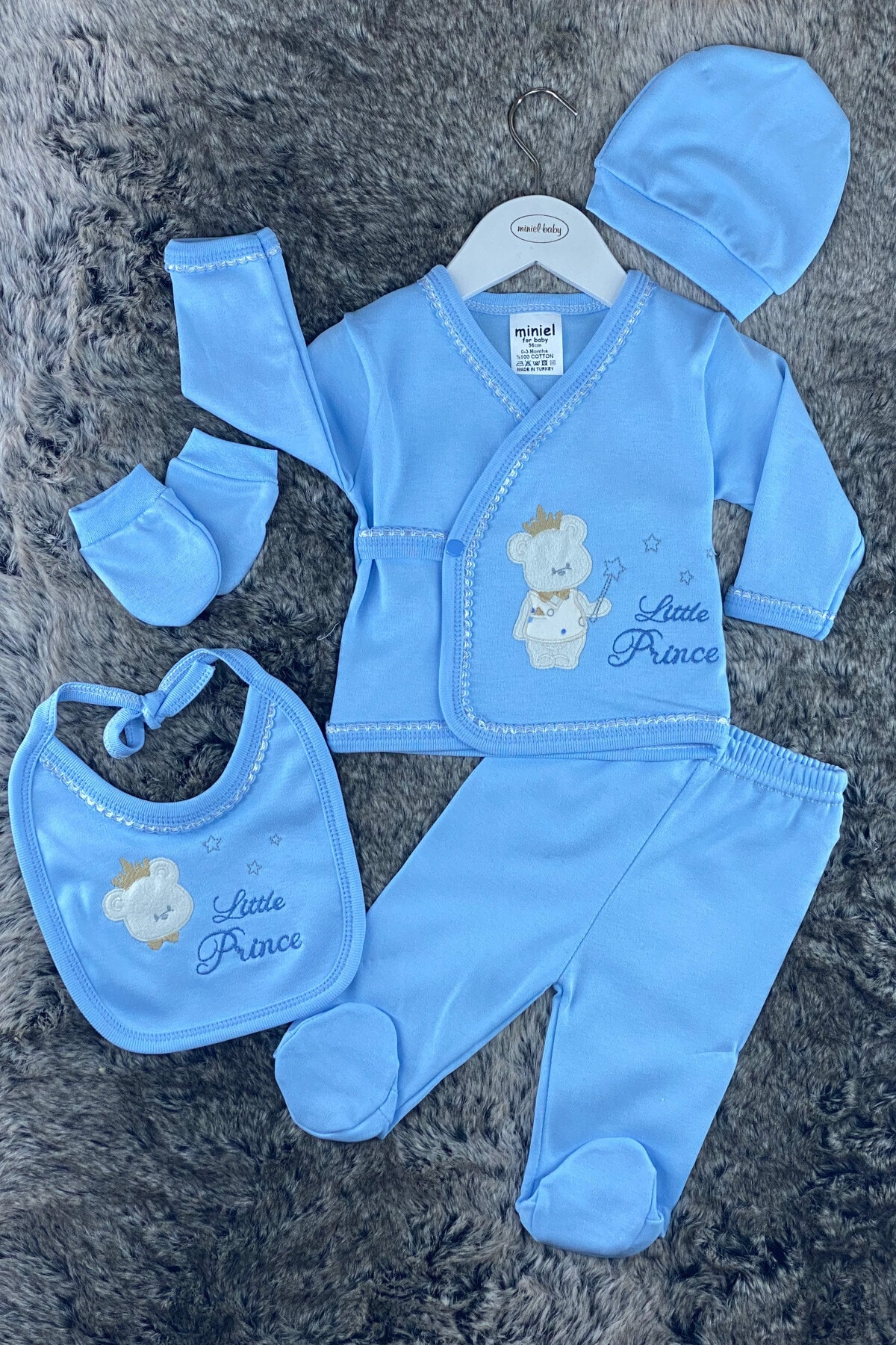 Miniel Erkek Bebek Mavi Prens Ayıcıklı 5'li Hastane Çıkışı Zıbın Seti 1