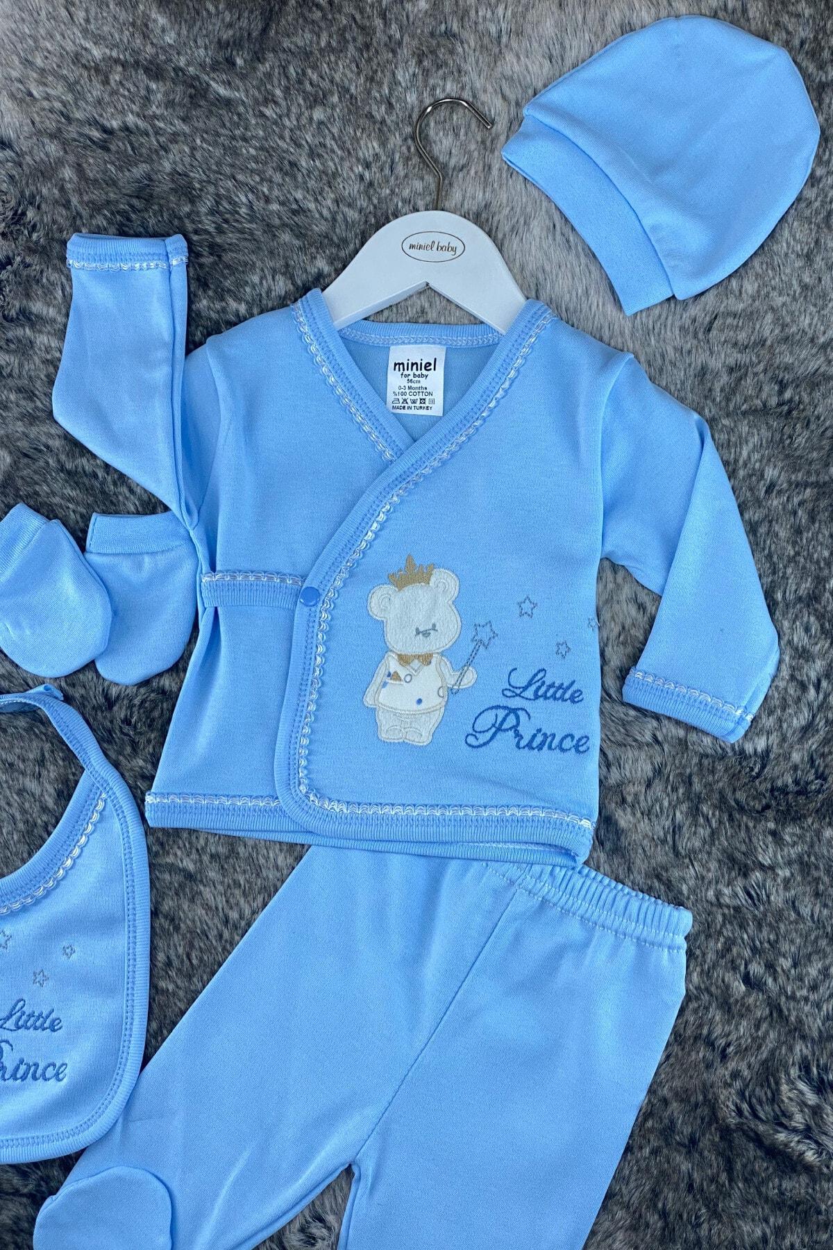 Miniel Erkek Bebek Mavi Prens Ayıcıklı 5'li Hastane Çıkışı Zıbın Seti 2