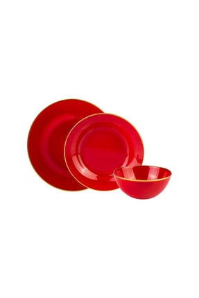 Karaca Retro Kırmızı 18 Parça 6 Kişilik Yemek Takımı