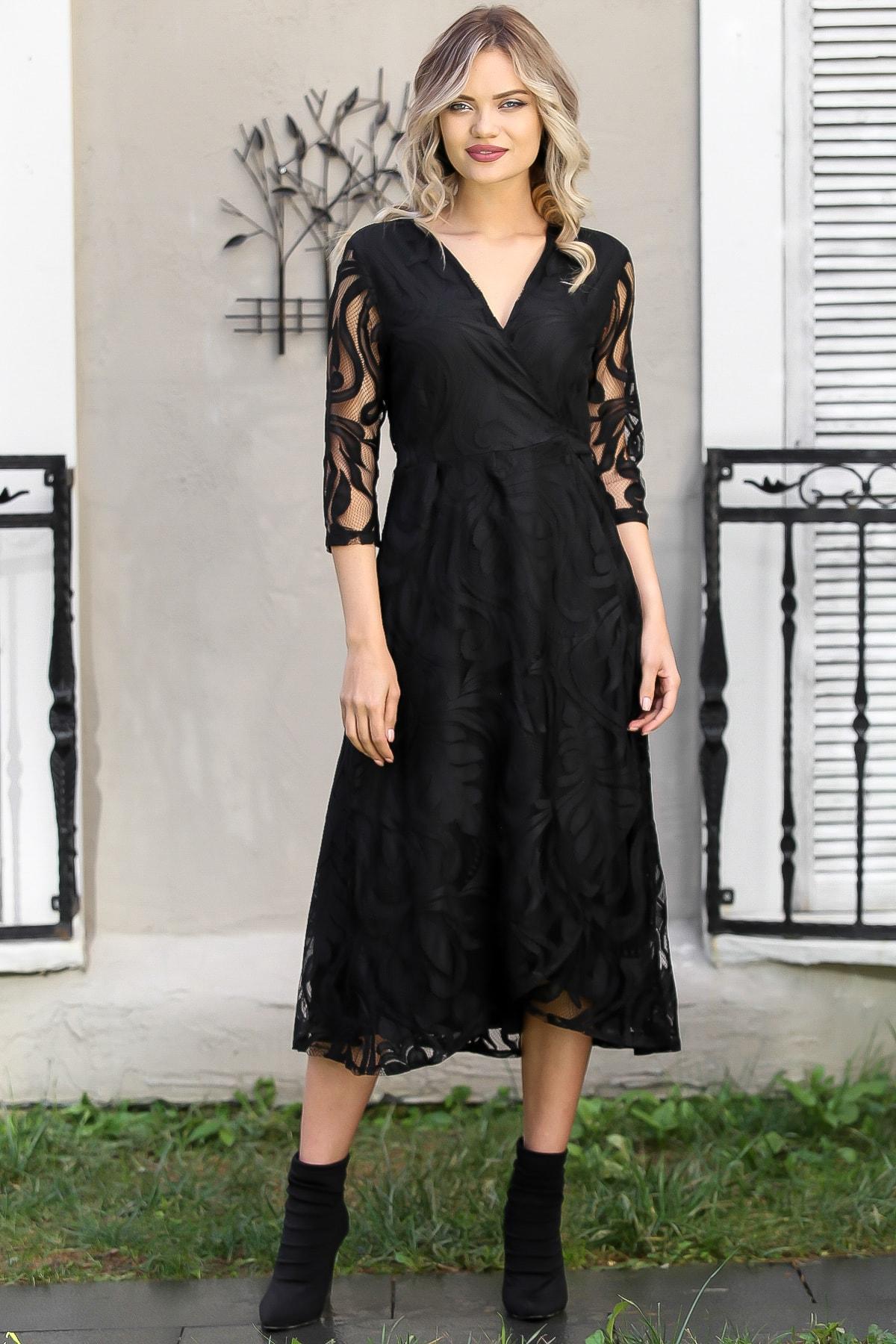 Chiccy Kadın Siyah Dantel Yaprak Desenli Kruvaze Astarlı Elbise M10160000EL96030