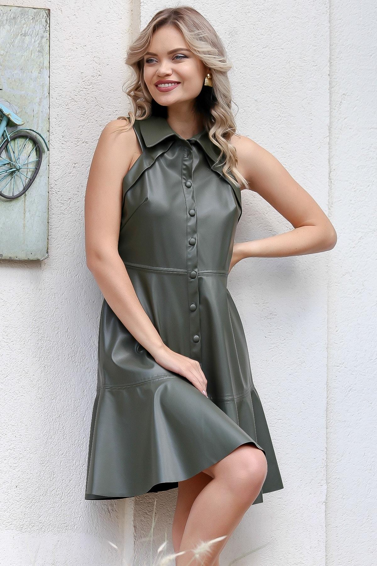 Chiccy Kadın Yeşil Gömlek Yaka Kaplama Düğmeli Kolsuz Suni Deri Retro Elbise M10160000EL96023