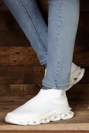 ROYJONES Roy&jones Unisex Sneakers Beyaz Çoraplı Ortopedik Taban Günlük Spor Ayakkabı Arj1
