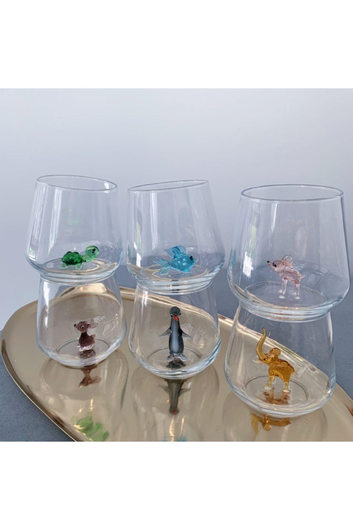 Minizooistanbul Full Renk El Yapımı Cam Figürlü 6'lı Su Bardağı Seti 2
