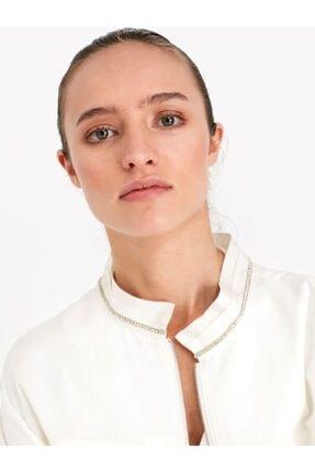 Twist Kadın Beyaz Taş Şeritli Ceket