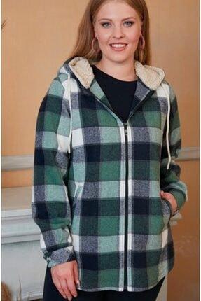 RMG Kadın Yeşil Kapüşonlu Oduncu Gömlek