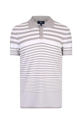 W Collection Erkek Bej Çizgili Polo Yaka T-shirt