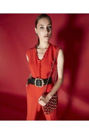 İpekyol Kadın Kırmızı Fırfır Yaka Şeritli Tulum