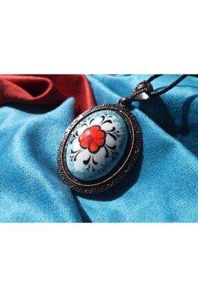 FEELİNG El Yapımı Iznik Çinisi Çiçek Desenli Kolye