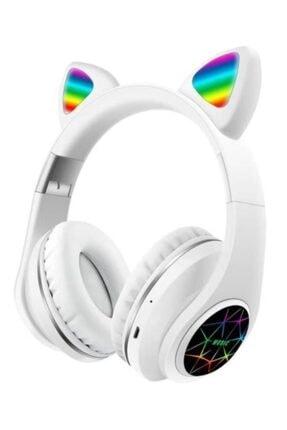 MASTEK Led Işıklı Beyaz Kedi Kulak Bluetooth 5.0 Wıreless Kulaklık