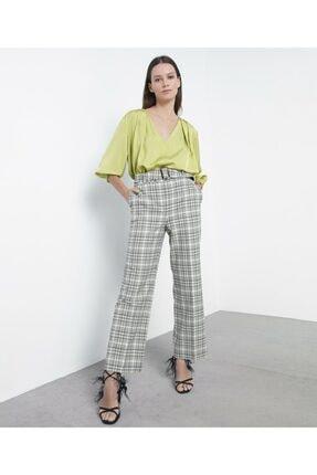 İpekyol Kadın Yeşil Ekose Pantolon