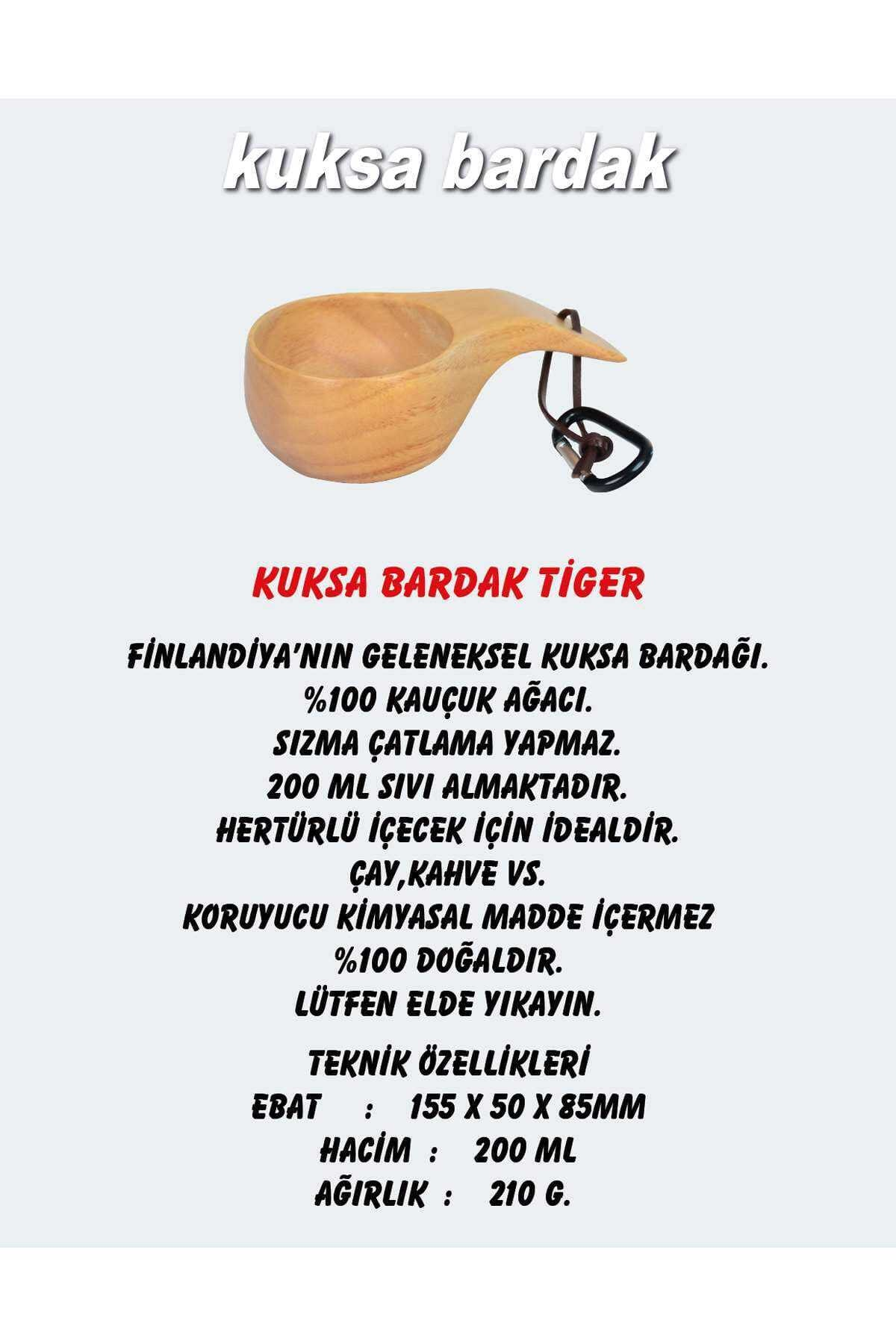 NURGAZ Ahşap Kuksa Bardak Tiger Ng Kks-t 2