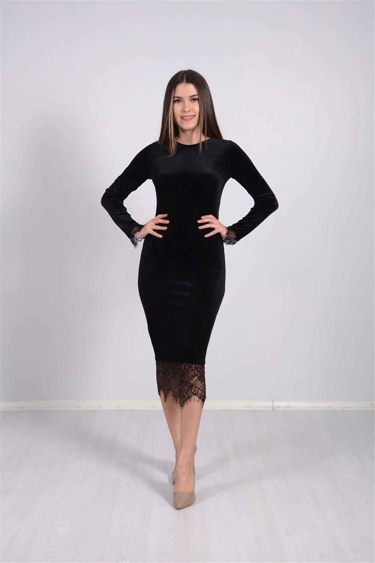 giyimmasalı Kadın Siyah Kadife Kumaş Dantel Elbise 2