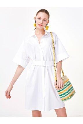 Twist Kadın Beyaz Kemerli Gömlek Elbise TS1200002445002