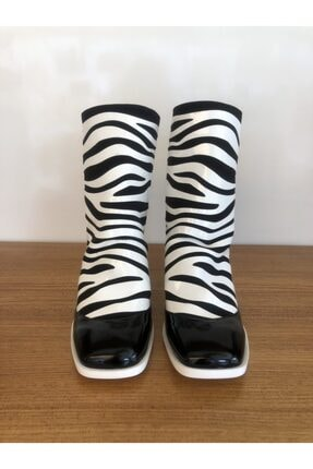MAGZA Zebra Desenli Deri Bot