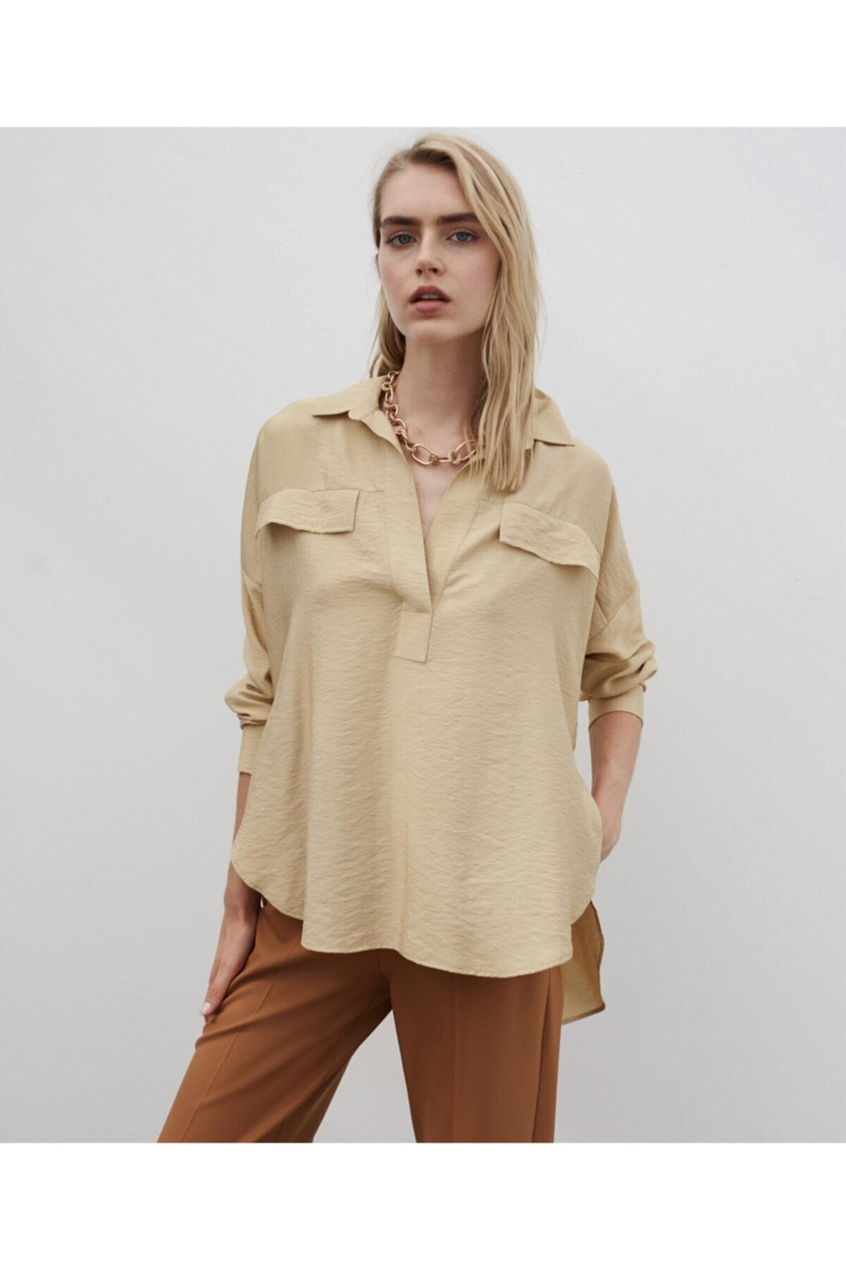 İpekyol Kadın Bej Gömlek Yaka Bluz 1