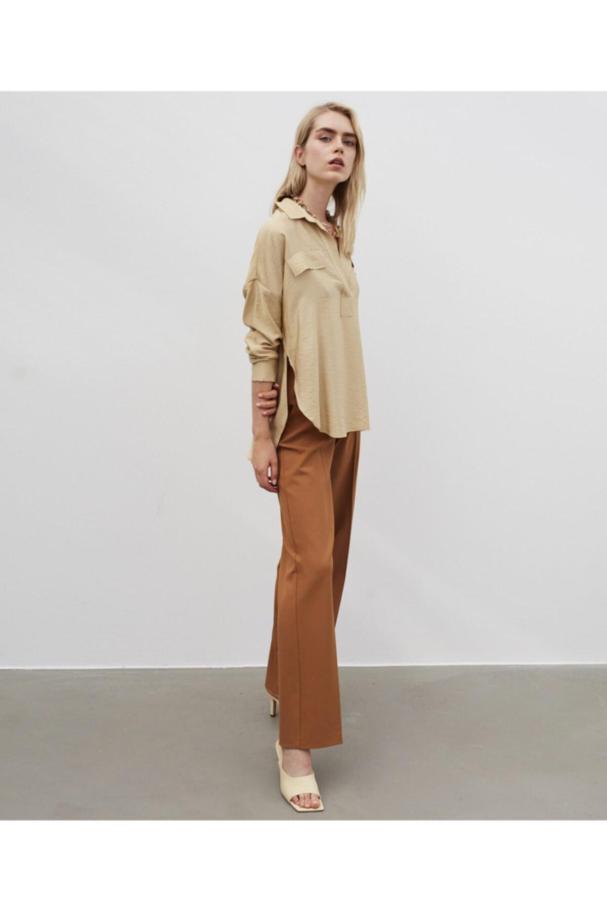 İpekyol Kadın Bej Gömlek Yaka Bluz 2