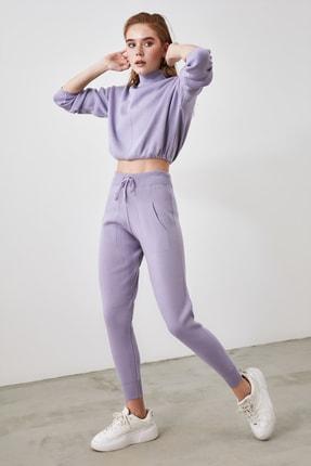 TRENDYOLMİLLA Lila Dik Yaka Kazak Pantolon Alt-Üst Triko Takım TWOAW21AU0231