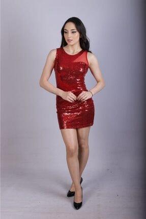 Sateen Kadın Kırmızı Payetli Elbise