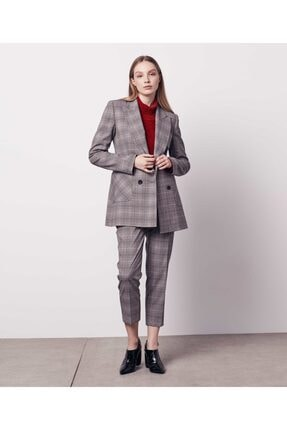 İpekyol Kadın Gri Ekose Desen Ceket IW6190005224005