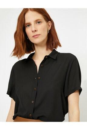 Koton Kadın Siyah Klasik Yaka Gömlek