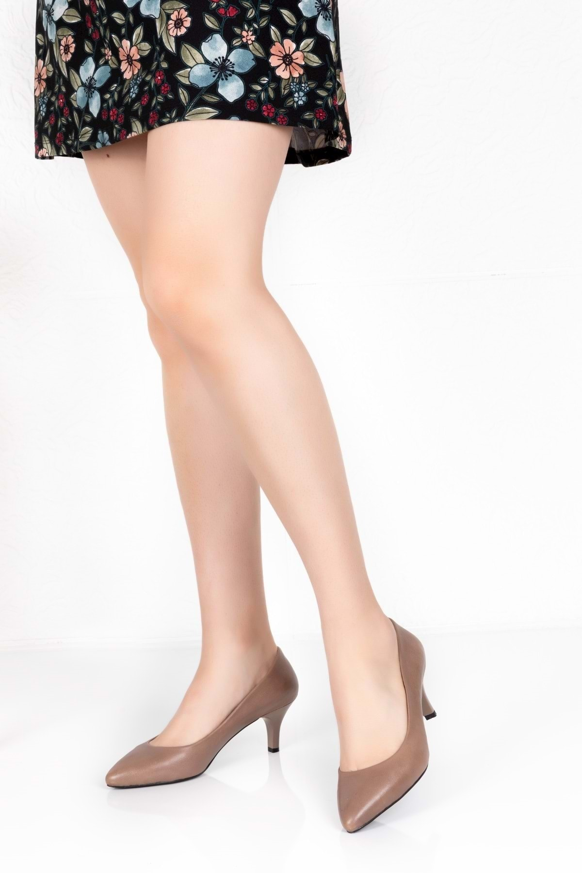 Gondol Kadın Vizon Deri Orta Topuk Stiletto vdt.23 2