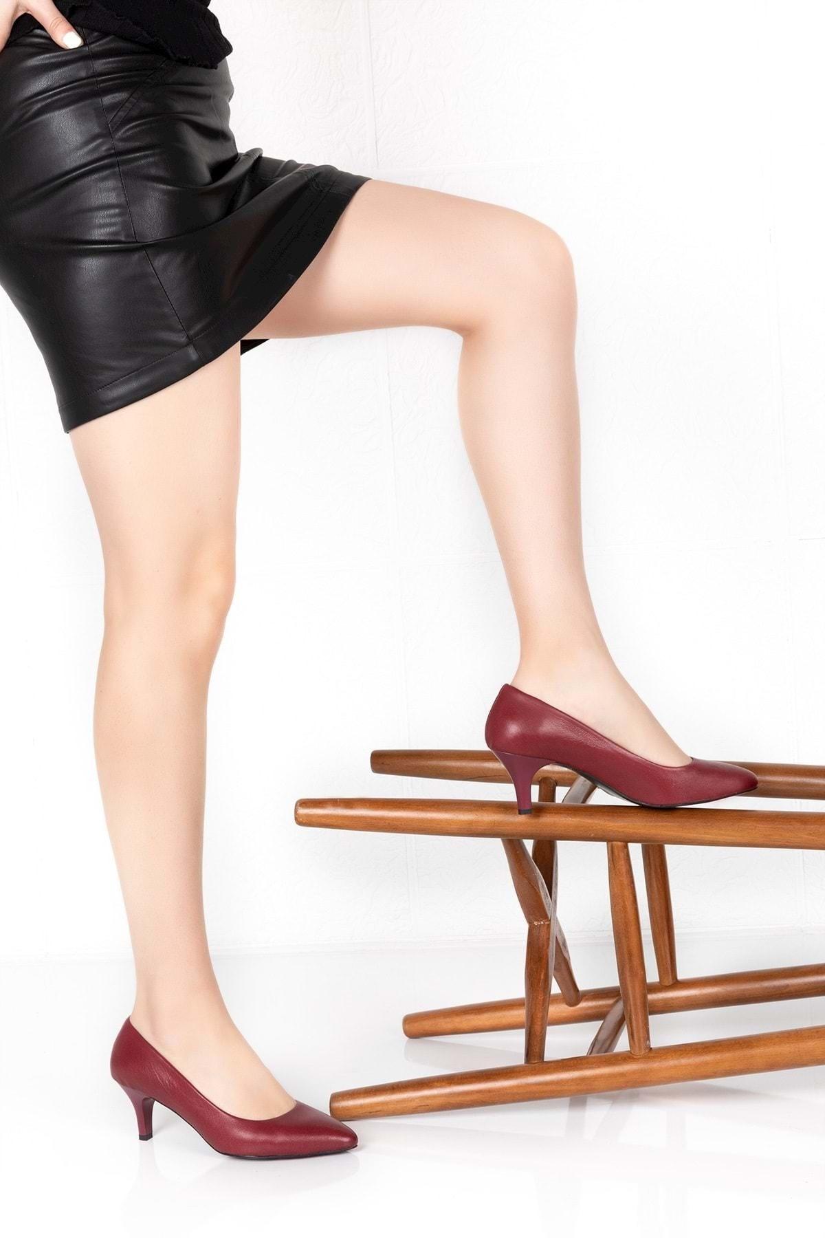Gondol Kadın Bordo Hakiki Deri Orta Boy Topuk Stiletto vdt.23 1
