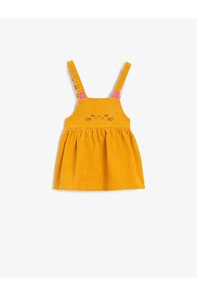 Koton Kız Bebek Sarı Kadife Baskılı Pamuklu Elbise