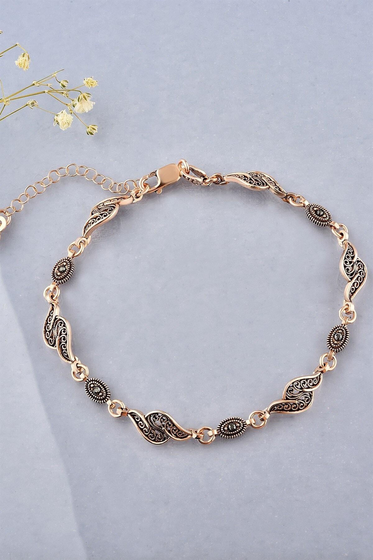 jelux silver Kadın Rose Telkari Gümüş Bileklik 1