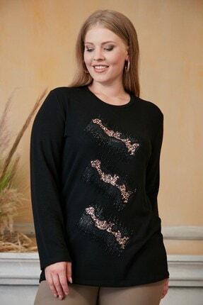 RMG Kadın Siyah Taş İşlemeli Leopar Desenli Büyük Beden Bluz