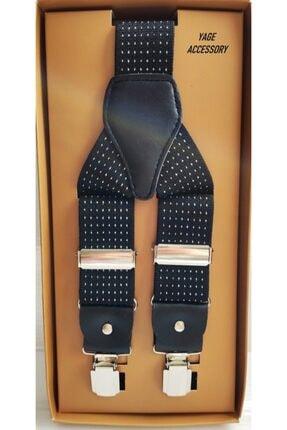 Yage Unısex Siyah Puantiyeli Pantolon Askısı 3.5 cm