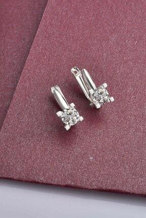 jelux silver Kadın Tek Taş Swarovski 4.5 mm Taşlı J Gümüş Küpe